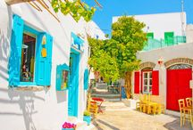 Alleys in Greece / Beautiful and colorful alleys of the Greek islands and Greek town & villages