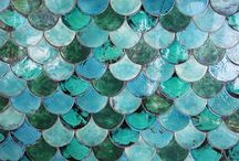 So cool - mermaid tile! I think I should put this inside an open closet with sheer curtains...