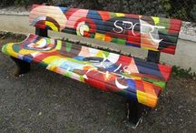 Benches & seats / Painted outside benches for the garden or open spaces