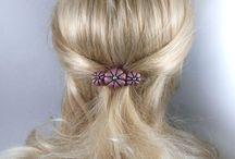 BARRETTES FLEURS / barrettes, pinces, épingles pour cheveux en soie ou en satin