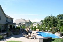 Custom Swimming Pools / Custom residential pool and spa with water and fire features