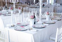 BIANCA AND STANLEY DEC 2014 - STELLENBOSCH / Décor and Floral Look and Feel: Clean and Modern. We went with all-white base tones punctuated with pops of pink – introduced by the use of Sylvia Protea and the French Writing Underplates.  Who made it happen? Venue: Cultivar Guest Lodge | Photography: Melissa Gillian Photography | Décor and Styling: Jack n Jill Hire and Beanstalk Group | Floral: Beanstalk Group | Catering: Beanstalk Group