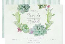 Watercolor Desert Cactus Succulents Party Suite / Watercolour succulent art party package customizable to your specifics.