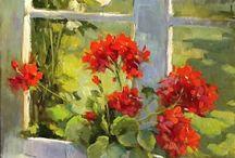 kwiaty w wazonie, drzwi, okna