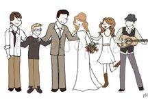 Wedding :: Blended Family Invitations / I love designing for weddings. When families combine the design becomes truly unique as I get to help share a love story in a simple and unique illustration that includes not just the couple's love but the love of their children.