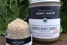 Body Scrubs / As we age there is a gradual decrease in the rate at which old dead cells leave the surface of our skin. These dead skin cells are responsible for the appearance of dull, lifeless skin. Our natural body sugar scrubs exfoliate to remove dead skin cells, unclog pores, encourage new cell growth and stimulate blood flow to the skin's surface to give your skin a healthy glow and leave it feeling smooth and moisturized.