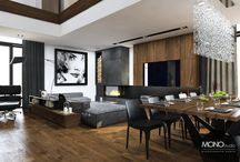 Nowoczesne i eleganckie wnętrze domu / Projekt eleganckiego i luksusowego domu w nowoczesnym klimacie. Dominują ciemne kolory czerni i szarości uzupełnione o ciepłe barwy drewna. Czarne elementy i eleganckie dodatki nadają wnętrzu niepowtarzalnego charakteru  Po więcej inspiracji zapraszamy na Naszą stronę internetową:biuro@monostudio.pl oraz na Facebooka