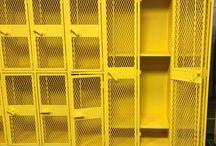 Mankato East High School Pool - Mankato, MN #DeBourgh #Lockers / #AngleIron #CitrusYellow #ExpandedMesh #5KnuckleHinge #SentryOneLatch #ClosedBase #SlopeTop