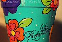 PAINTED, DECORATED & RECYCLED POTS