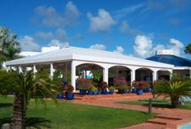 Mediterraneo, Anguilla  / Poolside canopy seating.