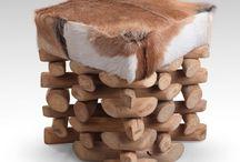 Teak-puuta ja aitoa vuohennahkaa / Ihania sisustustuotteita kotiin tai vaikka mökille.