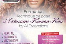 """Nos formations / La 1ère édition de la formation """"Technique de pose d'extensions Human Hair by ALL Extensions"""" est prévue pour très bientôt en GUADELOUPE."""