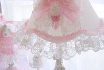 Vintage Romance Cherub Lamp. The lace around the bottom is so pretty