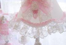 Vintage Romance Cherub Lamp. The lace around the bottom is so pretty