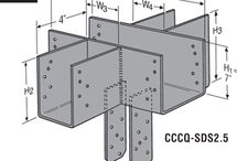 spojky trámů - connection of wooden beams - steel coupling / connection of wooden beams - steel coupling