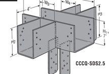 spojky trámů - connection of wooden beams - steel coupling / connection of wooden beams - steel coupling