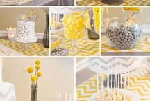 yellow and white baby shower
