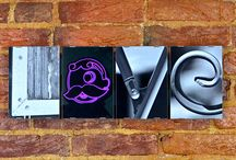 """Photo projects / This is an assortment of our photo letter art projects, which use pictures of locally found objects to spell out the words that tie us to our favorite people, places, businesses, teams, and phrases.  Each """"letter"""" is printed to 4"""" x 6"""", framed individually, and then mounted to a single backing which can easily be hung on the wall.  Visit http://36letters.com/photo-projects/ to learn more."""