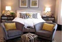 grey yellow bedroom / by Nichole Patton