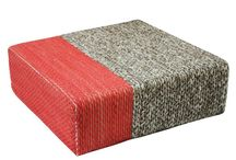 Ira - Handmade Wool Braided Square Pouf