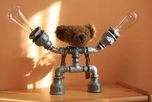 Galvanized bear / Lamp, galvanized lamp, old bear, antique-style Edison bulbs, cute table lamp ... Punk Trek
