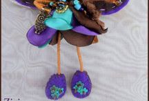 fairies and witches brooches made of wire , beads , fabric and felt / by El rinconcito de Zivi Zivi