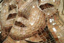glass-mosaic in bas-riliev