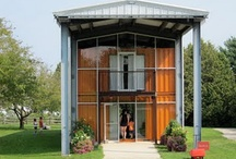shipping container shed / Possible house made from an industrial shed and shipping containers inside.