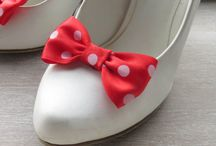 shoe clips handmade satin bows ribbon red yellow pink dots
