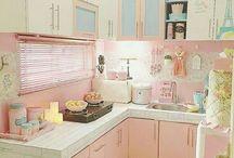 pasztell vintage konyha