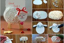 dekorace - vatové tampony a tyčinky