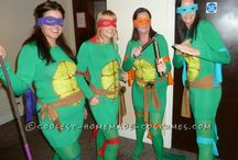 Teenage Mutant Ninja Turtle Costumes / Heroes in a half shell….Turtle power!  So, the plan was fancy dress for our friends 30th birthday party, we wanted something fun, but also a bit sexy! Really easy to make and really cheap too!