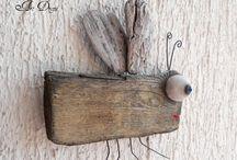 madeira e cerâmica