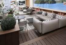 Trex Transcend - Shackletons Garden Centre / The use of different colours for borders, provides a distinctive design statement whilst enabling the successful integration of three deck areas of differing levels and colours.  Trex Transcend is manufactured from recycled materials and offers a hard-wearing, sustainable and low-maintenance solution.