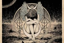 The Myth & Folklore of Glyn Smyth / Glyn Smyth (Stag & Serpent), is a skilled designer and printmaker from Belfast, Ireland. You may recognize some of his work from metal/rock bands Unearthly Trance, Year of No Light and Sub Rosa's album art. His dark occult inspired creations evoke a mystical environment of cloaked figures and sacred geometry.