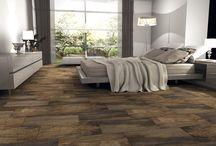Wood-effect floor tiles