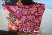 Easy quilted makeup bag using scraps