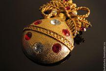 Винтажная брошь Ёлочная игрушка Новогодний шар