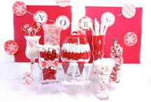 Red and White Snowflake Candy Buffet