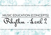 Rhythm Level 2 - Music Education {Concepts} / Songs, activities, resources, and strategies for teaching sixteenth notes, half note, 2-beat meter, 4-beat meter, and sixteenth/eighth note combinations.  Music Education {Concepts} Rhythm Level 2