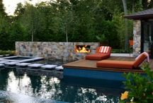 International Award Winning Swimming Pool / Modern and unique - this custom swimming pool and spa has fire elements, palm trees, floating stepping stones & ample patio space - an escape right in New Jersey.