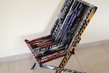 Recycled Hockey Sticks / Wondering what to do with your broken hockey stick? Check out these neat projects!