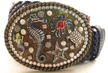 Mosaic Belt Buckles / Nautical and eclectic belt buckles handmade with Swarovski Crystals, Shells, Beads, Pearls, Abalone Shell and Natural Gemstones