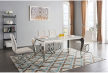 Modern Contemporary White Silver Dining Collection