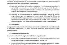 PREMIOS CATEDRA EMPRENDEDORES UNIVERSIDAD DE SALAMANCA 2016 SOBRE EMPRENDIMIENTOS