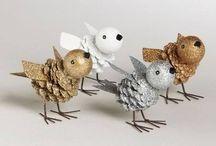 uccellini d'oro argento e bianco
