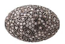 pave diamond beads and findings / pave diamond beads and findings for vintage look jewelry making