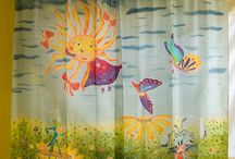 Silk painted curtains / Hand painted silk Ponge curtains ''Frozen''