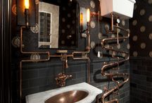 Steampunk Bathrooms / Think Victorian Gothic meets modern industrialism.
