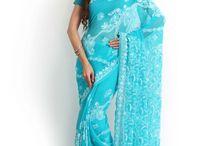 Chikankari Sarees on Georgette / Light & breezy handcrafted Chikankari sarees straight from the city of Lucknow.